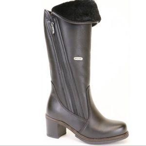 "Pajar ""sunrise"" heeled black leather winter boot 6"